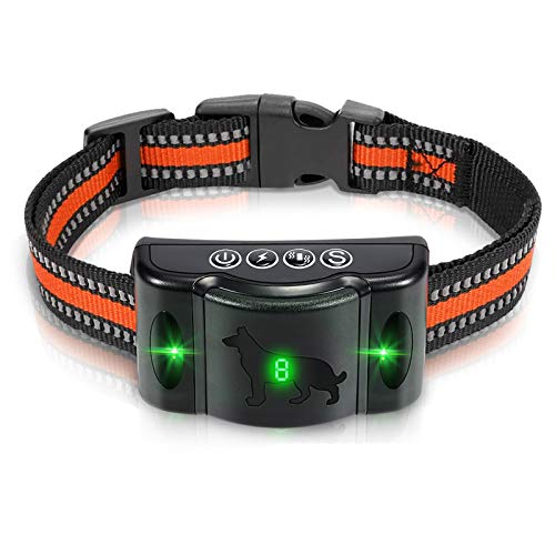 Petural Dog Bark Collar-Rechargeable Dog Barking Control,Training Collar with LED-3 Training Mode Sound Vibration&Shock-8 Adjustable Sensitivity Levels Waterproof Pet Collar for Big Dogs