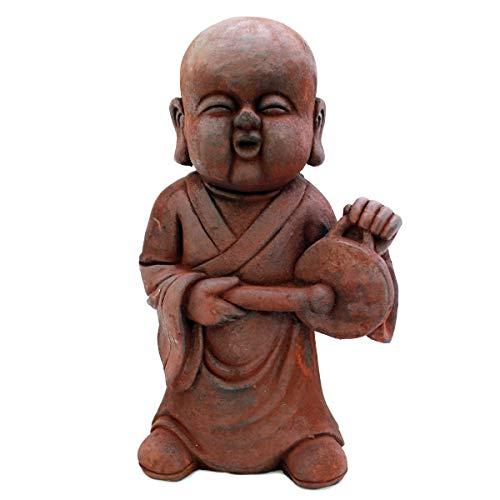Gall&Zick Mönch Figur, Buddhafigur, Mönchstatue, Buddha Statue mit Instrument, 43cm Höhe, Dekofigur, Polyresin, Dekoration für Haus, Wohnung und Garten (Gong)