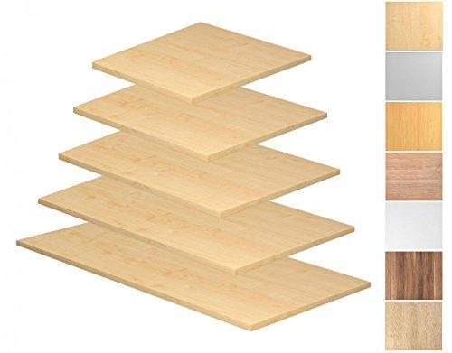 Tischplatte Rechteckform, Tiefe 800/1000 mm, Breite 800/1200/1600/1800/2000 mm, mit Systembohrung, Tischplatte - Dekor:Nussbaum;Größe:1600 x 800 mm