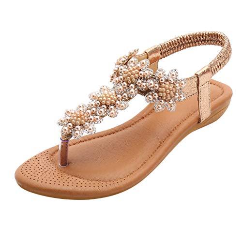 MINXINWY Sandalias Mujer Verano 2019 Planas, Zapatos de Playa Bohemia Sandalias Mujer Verano Flor Rosario Zapatillas Calzado Casual Romano Sandalias