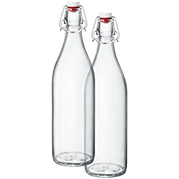 Modern Home 1L//34oz Culaccino Swing Top Round Glass Bottle Set of 2 Smooth Lime Green