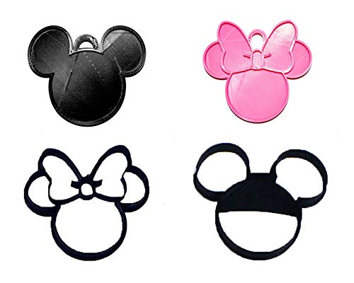 MICKEY AND MINNIE MOUSE HEADS COOKIE CUTTERS AND HANGING ORNAMENTS SET OF 4 TOTAL 3D PRINTED MADE IN USA PR1121