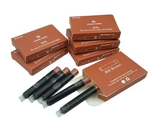 Cartuchos de tinta Hongdian para pluma estilográfica, diámetro de 3,4 mm, 30 cartuchos de tinta de color marrón