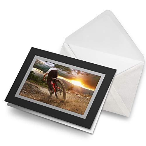 Greeting Cards Black (Insert) - Mountain Biking Bike Trail Sunset Blank Greetings Card Birthday Kids Party Boys Girls #16150