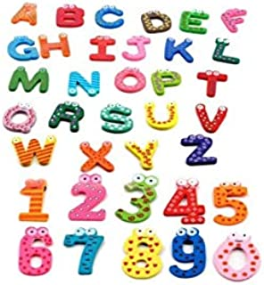 26 Letters and 10 Numbers Wooden Fridge Magnets