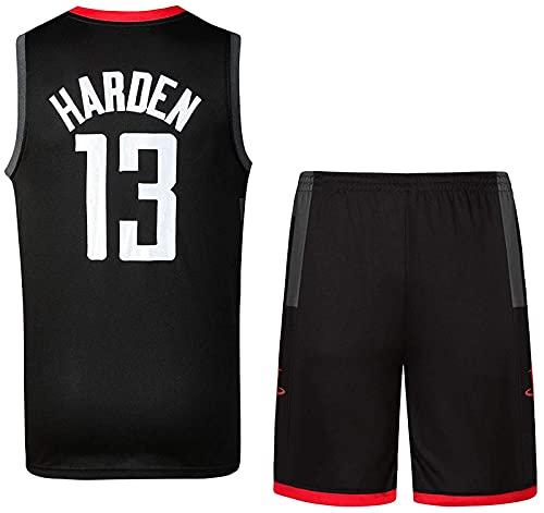 Rockets 13# Harden Jersey Paño De Baloncesto Set Retro Edition Jersey Set De Bordado Uniforme Camisa De Verano Pantalones Cortos Virtuales, Negro, XL, Black - M