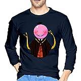 Assassi-Nation Classroom - Camiseta para hombre, 100% algodón, cuello redondo, manga larga, cómoda impresión, azul marino, M