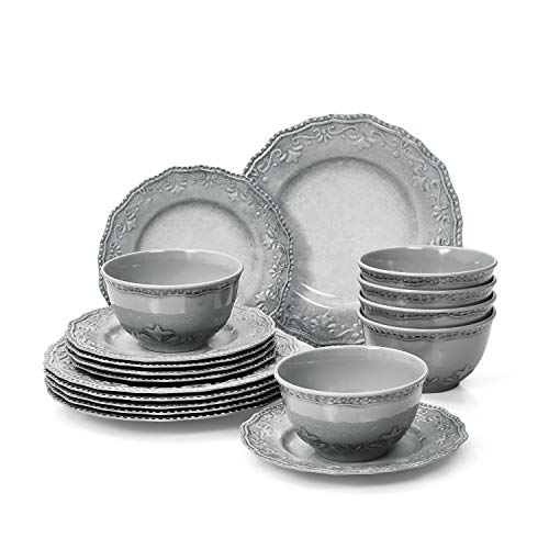 TP Dinnerware Set 18-Piece Melamine Dishes Set Dinner Service for 6 with Bowls and Salad Dinner Plates Gray