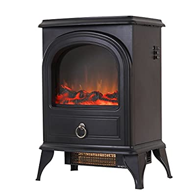 Valuxhome Portable Electric Fireplace Heater 22 Inches High, 1500W, Black