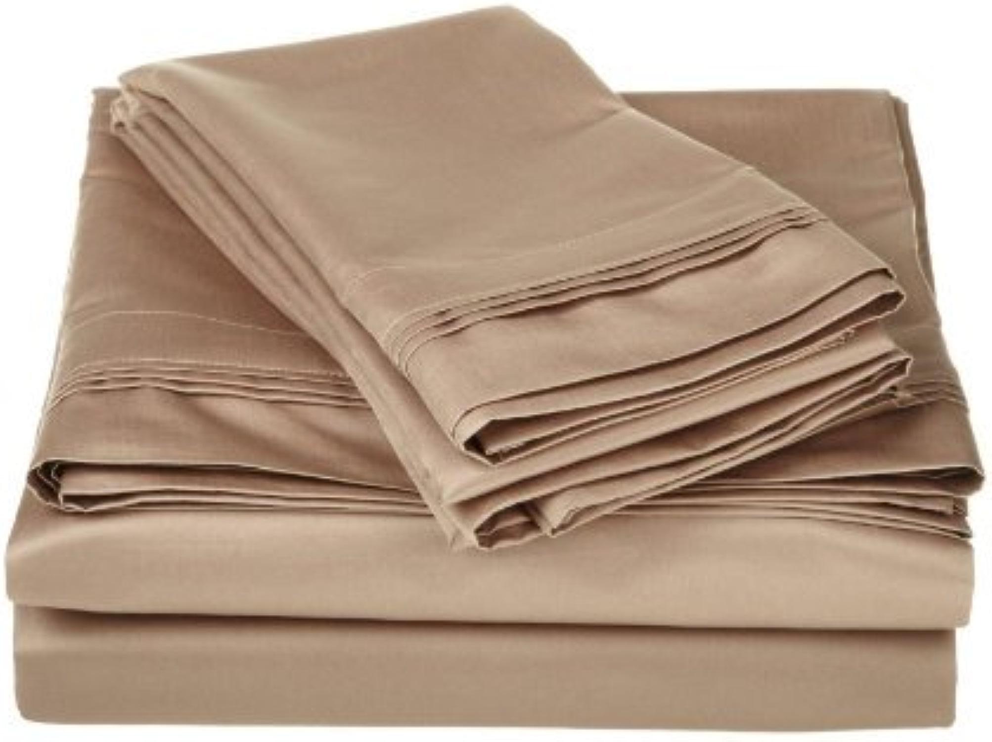Laxlinens 300fils en coton égypcravaten 4pièces pour lit (+ 38,1cm) Extra profonde poche Euro Beige Super King Taille, massif