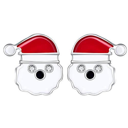 Lydreewam Plata de ley 925 Pendientes con forma de botón de Papá Noel para mujeres, niñas y niños