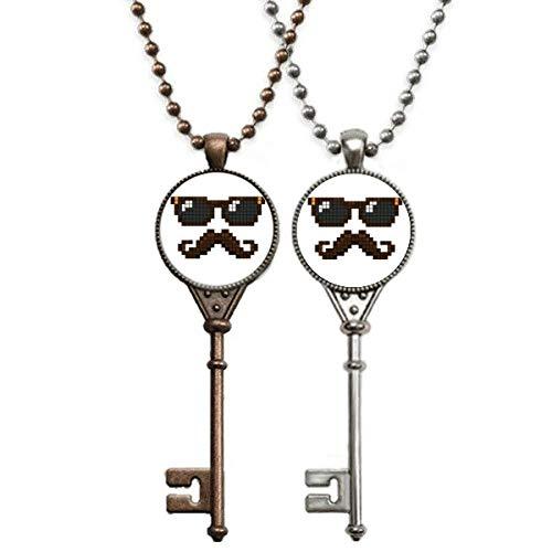 Sonnenbrille Bart Mann Pixel Schlüssel Halskette Anhänger Schmuck Paar Dekoration