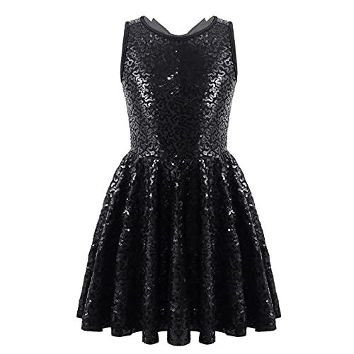 Mufeng Vestido de Lentejuelas Brillantes de Danza para Niñas Vestido de Baile sin Mangas con Lazo Vestido Fiesta Ovalada Princesa Negro 4 años