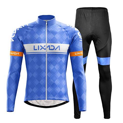 Lixada Ciclismo Manica Lunga da Uomo,Set Abbigliamento da Ciclismo con 3D Cuscino per Ciclismo MTB Bicicletta Bici da Corsa