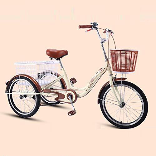 """BOT Triciclo Adulto 20"""" Bicicleta 3 Ruedas Adulto con Cesta de la Compra por recreación, Compras,Bicicleta de Tres Ruedas,Bicicletas de Hombres de Las Mujeres con Herramientas de instalación"""