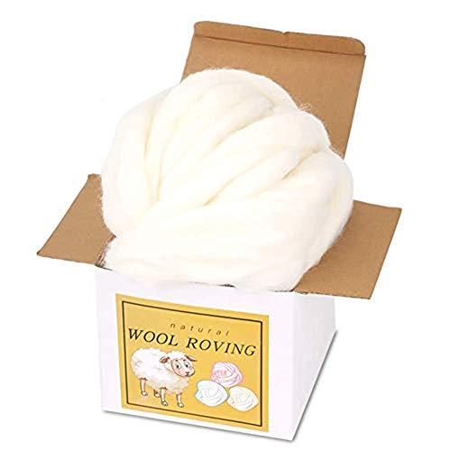 Kuppt Filzen Wolle, 8.82oz Roving Wool, Nadelfilz Wolle, Weiche Filzwolle Märchenwolle mit Box für Nadelfilzen Trockenfilzen Spinnen Handwerk