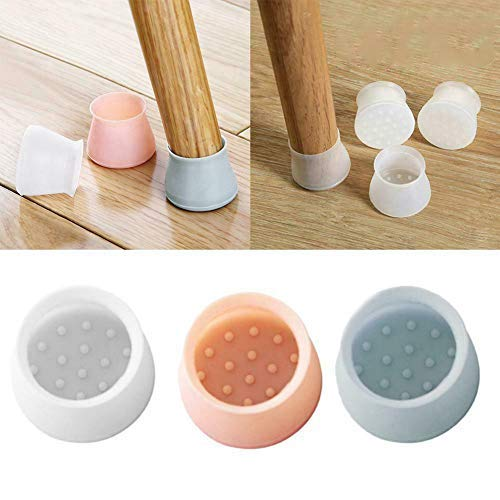 Chair Leg Caps Feet Pads Silicone Furniture Table Covers, Silicon Furniture Leg Protection Cover Table Feet Pad Floor Protector (Grau)