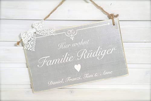 Türschild aus Holz mit Familienname u. Vornamen - Schild für die Haustür mit Namen der Familie in Grau und Weiß Vintage
