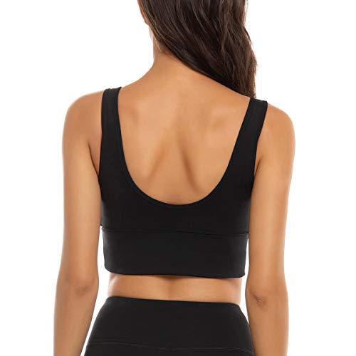 FORLAND Crop Top Sports Bras for Women - Womens Longline Sports Bra High Support Workout Yoga Bra Tops,Black,Medium