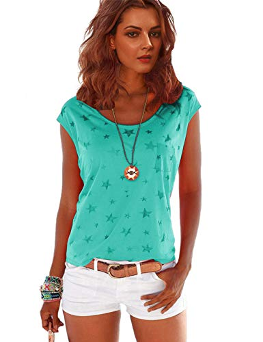 TrendiMax Damen T-Shirt Tops Ärmellos Basic Sommer Shirts Allover-Sternen Druck Sexy Oberteil (Grün, L)