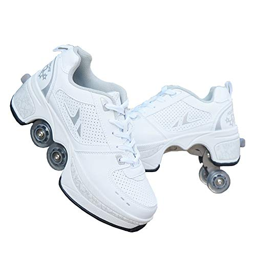 FECUAL Parkour Shoes Outdoor Deformation Roller Skates Four Rounds High Top Running Sports Roller Skates