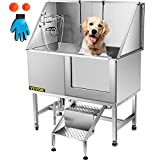 VEVOR 50 Inch Dog Grooming Tub?Professional Stainless Steel Pet Dog Bath Tub?with Steps Faucet & Accessories Dog Washing Station?Right-Door?