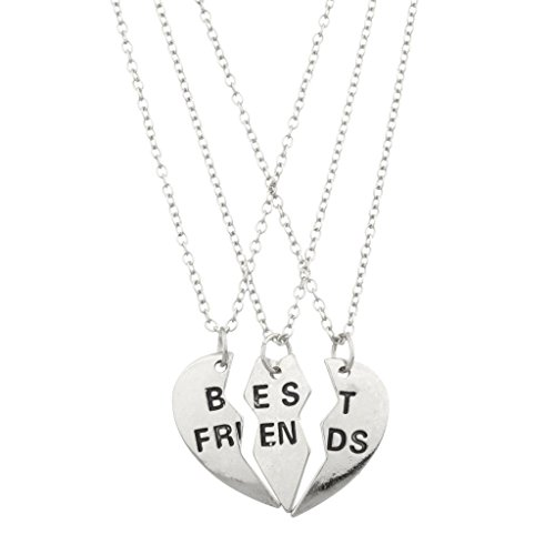 Lux Accessories Best Friends BFF Forever Heart (3pc) Necklace Set