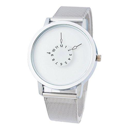 Souarts Damen Schwarz Edelstahl Uhrarmband Armbanduhr Quartzuhr Sommer Uhr mit Batterie (Weiss)