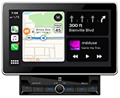 """10.1"""" Extra-large capacitive touchscreen LCD (1024x600) l Apple CarPlay and Android Auto Built-in Bluetooth technology with hands-free calling, music streaming, ID3 tags and phonebook support, internal mic Push-to-talk button to access smartphone voi..."""