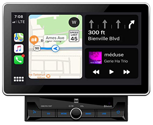 "Dual Electronics DMCPA11BT 10.1"" Extra Large Touchscreen Media Receiver with Apple CarPlay and Android Auto l Built-in Bluetooth with A2DP Music Streaming and Phonebook Support"
