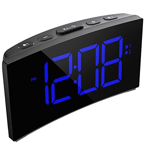 PICTEK Digitaler Wecker, LED Wecker Digital, Tischuhr, Digitaluhr, Reisewecker, Digitalwecker, Randlos Kurve, Snooze, 3 Alarmtöne, 6 Helligkeit,5