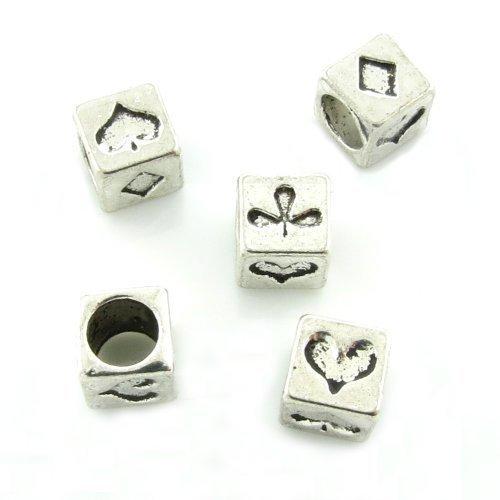 Bacabella Damen 5 European Beads 7mm Kartenspiel (Karo-Pik-Kreuz-Herz) in Würfelform Silber | Perlen Elemente für European Armbänder und Ketten
