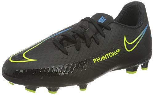 Nike JR Phantom GT Academy FG/MG, Scarpe da Calcio, Black/Black-Cyber-lt Photo Blue, 34 EU