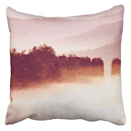 AEMAPE Fundas de cojín Efecto de Pintura de Acuarela Peaks Rocks Cut Lighting Mist Deep Valley es una Niebla Colorida Completa Funda de cojín de 40x40 cm