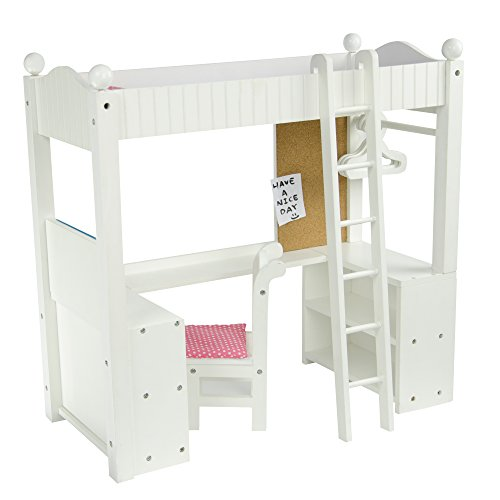 """Olivia's Little World - Princess College Dorm with Bedding (Gray Polka Dots) 18"""" Doll Double Bunk Desk, Loft Bed, fits American Girls Dolls, White"""