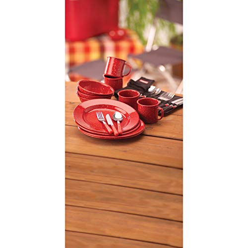 41I2G1mKDLL - Coleman 24-Piece Enamel Dinnerware Set, Red