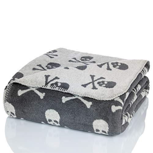 Glart Kuscheldecke Grau skulls XL Decke 150x200 cm Sofa, weiche & warme Wolldecke extra flauschig als Sofadecke Couchdecke, kuschel Wohndecke Kuscheldecke, Plüsch Sofaüberwurf Decke