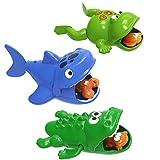 toymus 3 Pack Baby Badespielzeug, Baby Bade Schwimmen Badewanne Pool Spielzeug, Uhrwerk Schwimmbad Spielzeug, Hai, Krokodil, Frosch, Babyspiel Wasserbad Spielzeug, Für 3 Monaten Kinder Jungen Mädchen