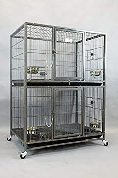 New 37  Homey Pet Two Tier Pet Dog Cat Cage with Feeding Door and Bowls