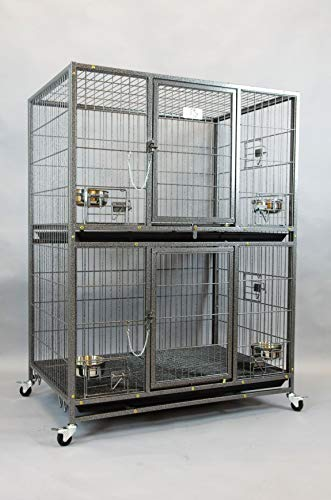 Homey Pet New Two Tier Heavy Duty Cage Kennel w/Casters and Feeding Bowls