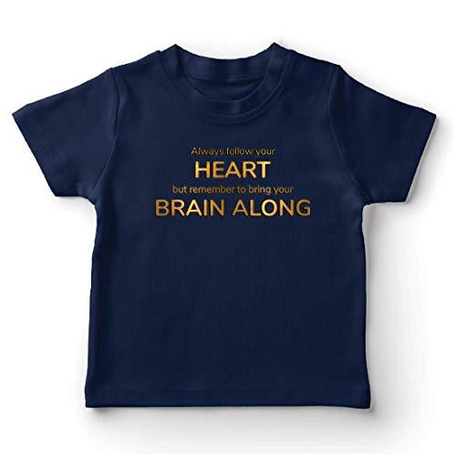 lepni.me Camiseta para Niño/Niña SIGA a su corazón Traiga a su Cerebro Inspirar Cotización (14-15 Years Azul Oscuro Multicolor)