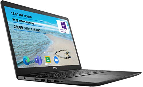 2021 Newest Dell Inspiron 15 3000 Laptop, 15.6 HD Display, Intel Pentium Silver 5030 Processor Windows 10 Pro 8GB RAM, 256GB SSD, 1TB HDD Online Meeting, Business and Student Webcam, Black