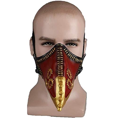 LLZK Maske Crow Meister Reparateur Razor Cos Maske Pest-Doktor Schnabel Requisiten, Maskerade-Weihnachtsparty-Partei-Stab-Kostüm Props (Farbe : Red, Größe : 55cm-62cm)