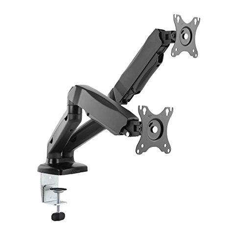 Dual 2 Fach Tischhalterung mit Gasdruckfeder für LED und LCD Monitore bis 27 Zoll VESA 75x75 100x100 HALTERUNGSPROFI OFFICE-GS224 (2 Monitore)