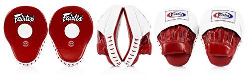 Fairtex Contoured Boxing MMA Muay Thai Karate Training Target Focus Punch Pad Mitts (Red/White)