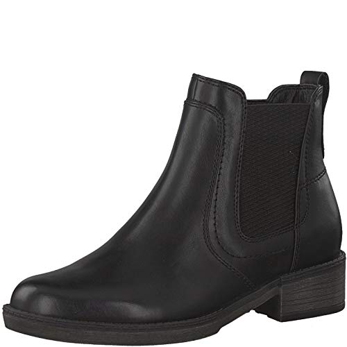 Tamaris Damen Stiefeletten, Frauen Chelsea Boots, Stiefel halbstiefel Bootie Schlupfstiefel flach weiblich Lady Ladies Women,Black Uni,37 EU / 4 UK