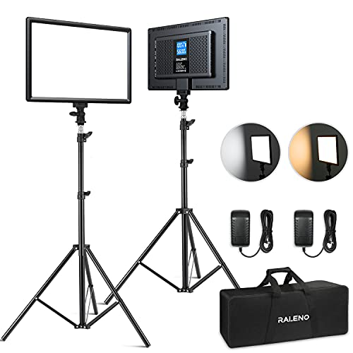 RALENO LED Video Lighting Kits With 75inch Light Stand, 1 Durable Handbag And 2-Pack 384 LED Soft...