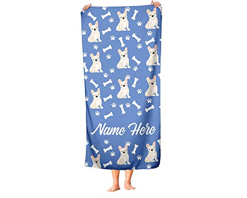 Personalized Fawn French Bulldog Pattern Beach and Bath Towels - Large and Medium Sizes - Custom Towel Travel Pool and Indoor Use Towels for Adults Kids Frenchie