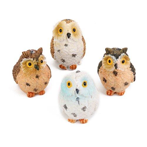 Homyl Set de 4X Hiboux Miniature Artisanat Figurines de Jardin Accessoire de Fête Noël
