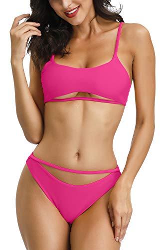 QINSEN Damen hoch Cut Bikini-Badebekleidung mit u-Ausschnitt aushöhlen Riemchen cami Plus Size aktiv 2pcs Sommer-Badeanzug Outfit x-Large rosa